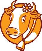 Good cow smiling emblem
