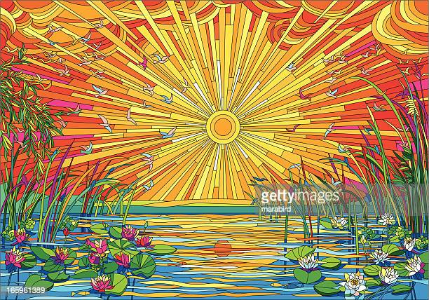 good evening - stained glass stock illustrations