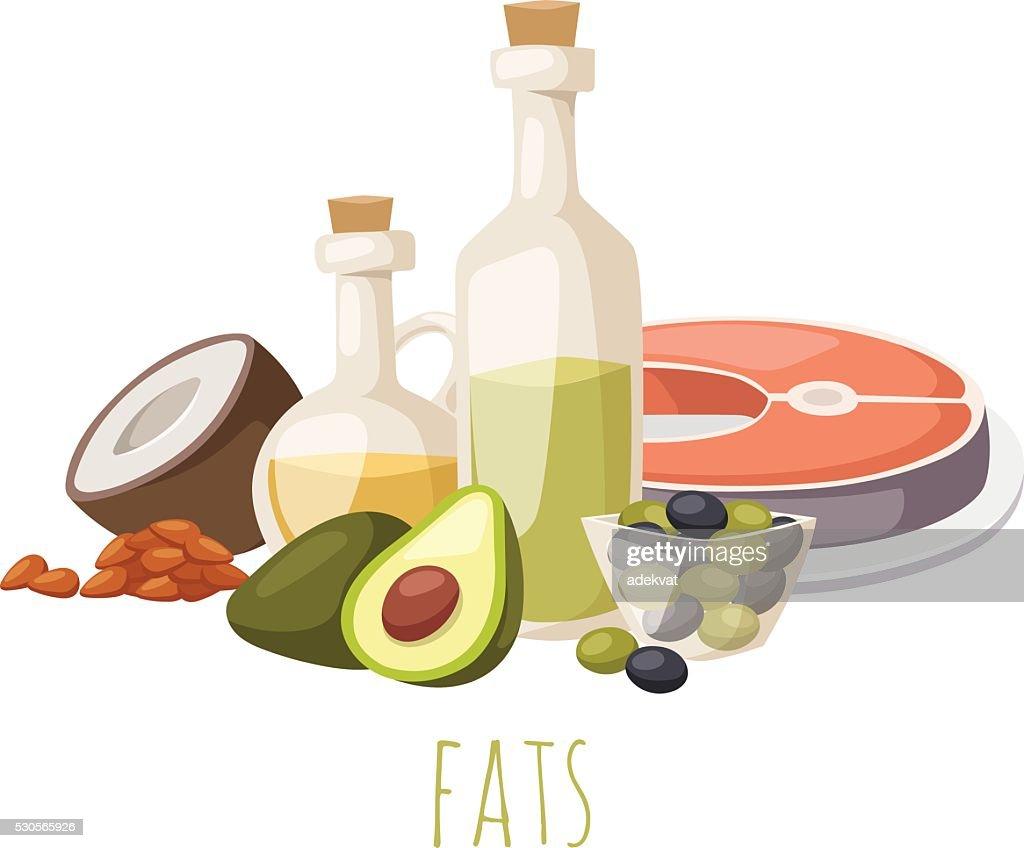 Good fats food vector illustration