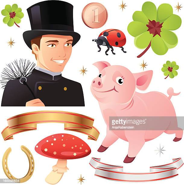 good luck collection with pig and chimney sweep - magic mushroom stock illustrations