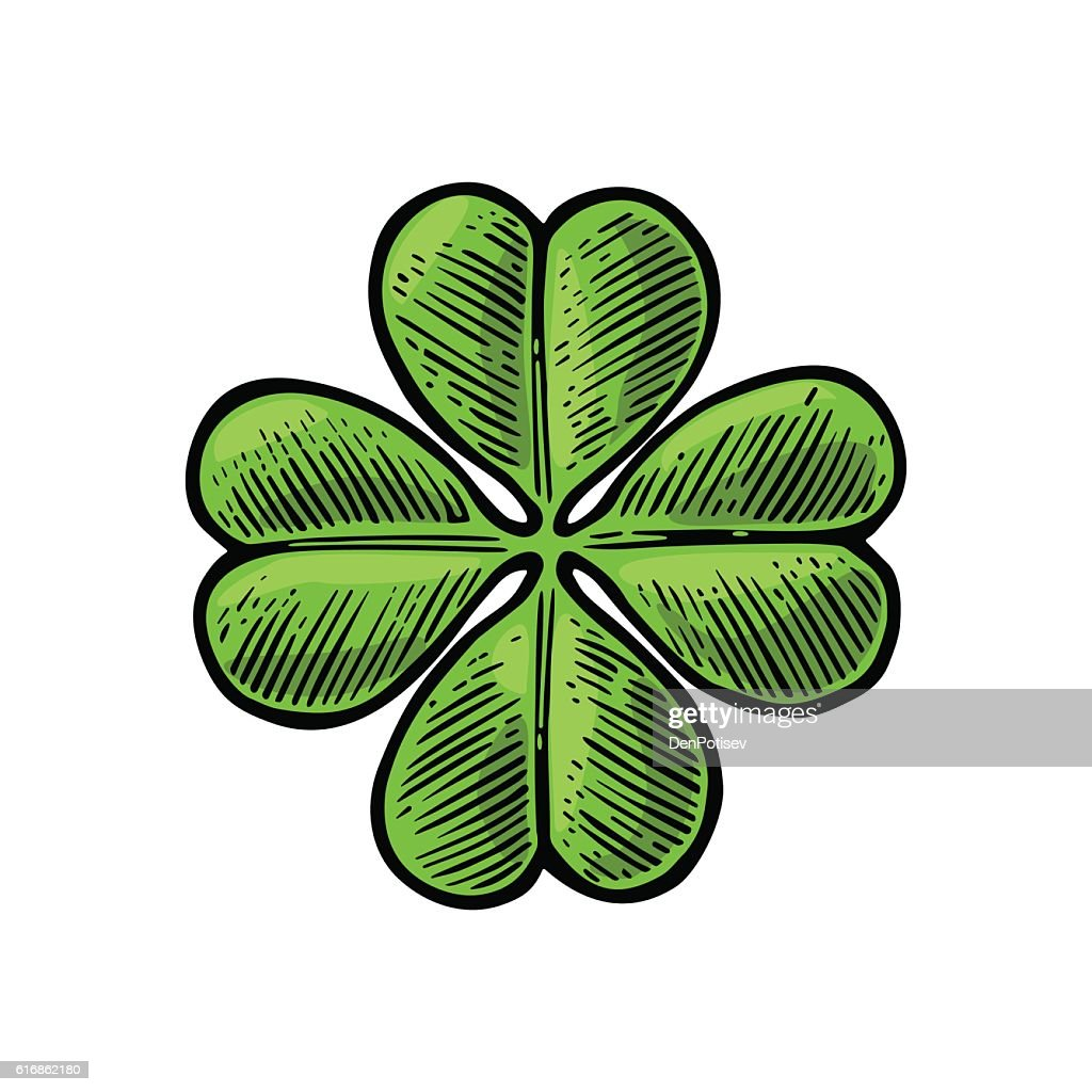 Good luck four leaf clover. Vintage vector engraving illustration : Vector Art
