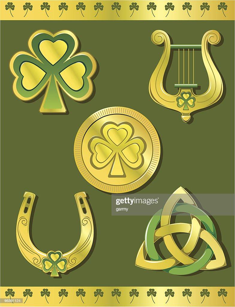Good Luck Irish Golden Icon Set