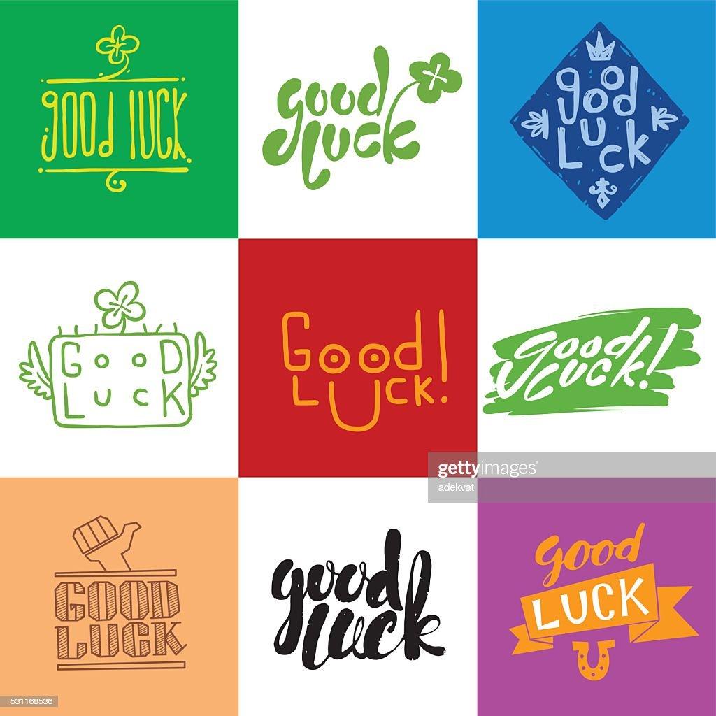 Good luck vector lettering set