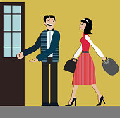 Good manners. man open the door for woman.etiquette. decorum.shopping woman.elegant dress and hills.Chinese woman