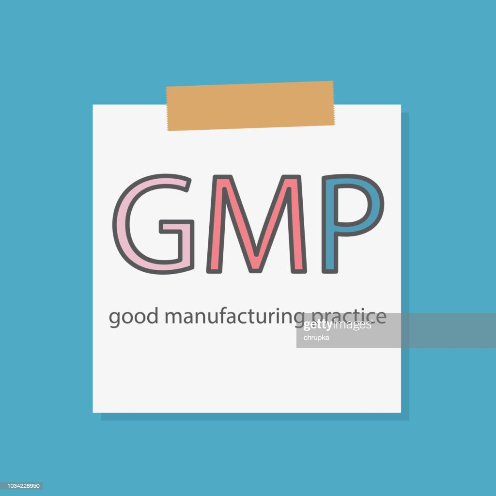 GMP Good Manufacturing Practice written in a notebook paper