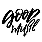 good music hand drawn brush lettering text