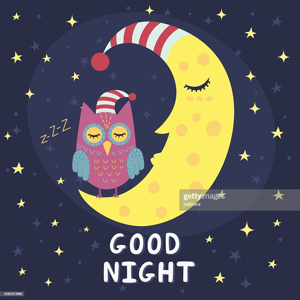 Good night card with sleeping moon and cute owl