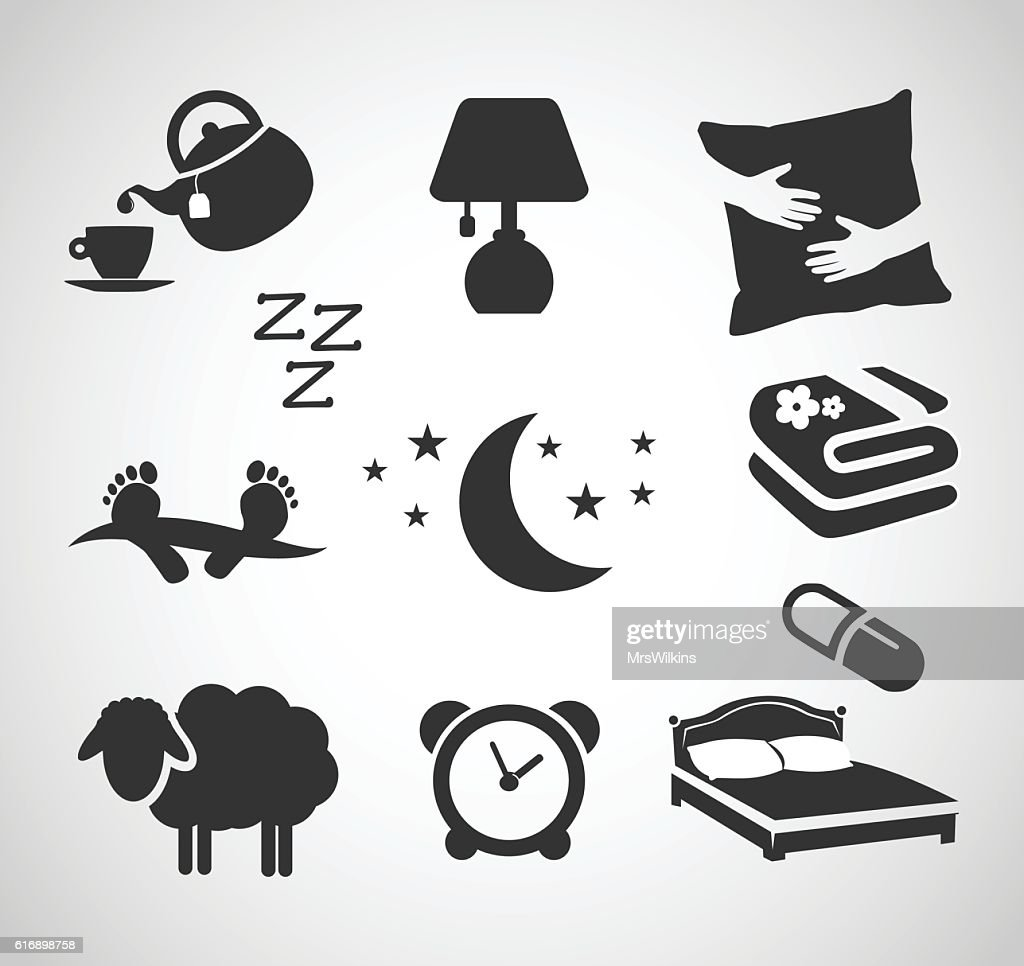 Good night - sleep icon set vector illustration