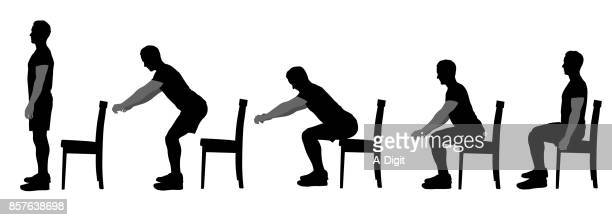good sitting form - sitting stock illustrations