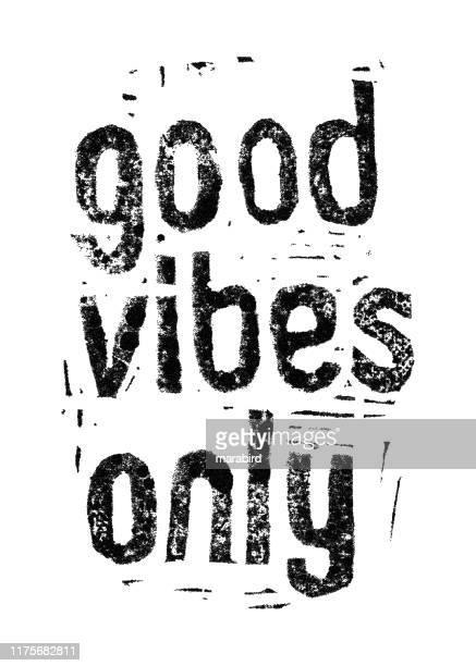 good vibes only. hand drawn linocut print. - aura stock illustrations
