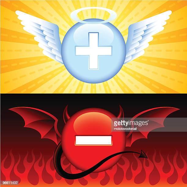 good vs evil buttons - horned stock illustrations
