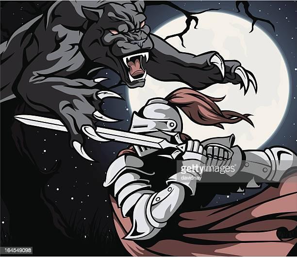 ilustrações de stock, clip art, desenhos animados e ícones de good vs. evil - luta de espadas