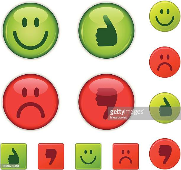 good/bad, right/wrong, happy/sad, thumbs-up/thumb down - smiling stock illustrations