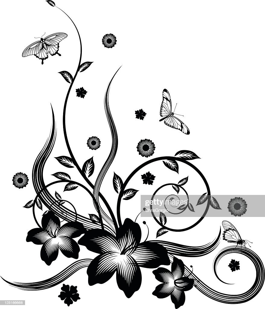 gorgeous black corner floral design high res vector graphic getty images 2