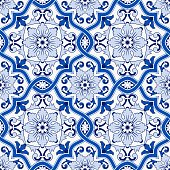 Gorgeous seamless pattern from dark blue and white Moroccan, Portuguese tiles, Azulejo, ornaments. Can be used for wallpaper, pattern fills, web page background,surface textures.