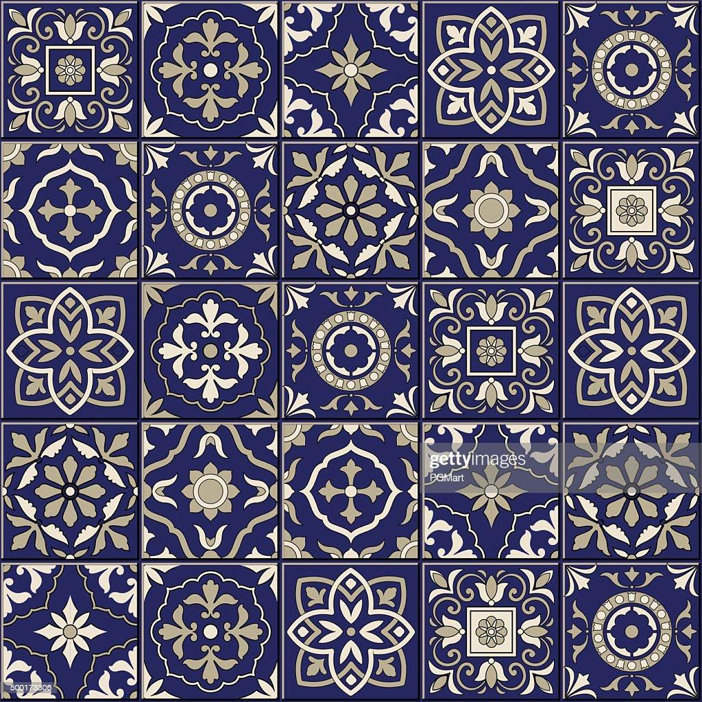 Gorgeous seamless  pattern . Moroccan, Portuguese  tiles, Azulejo, ornaments.