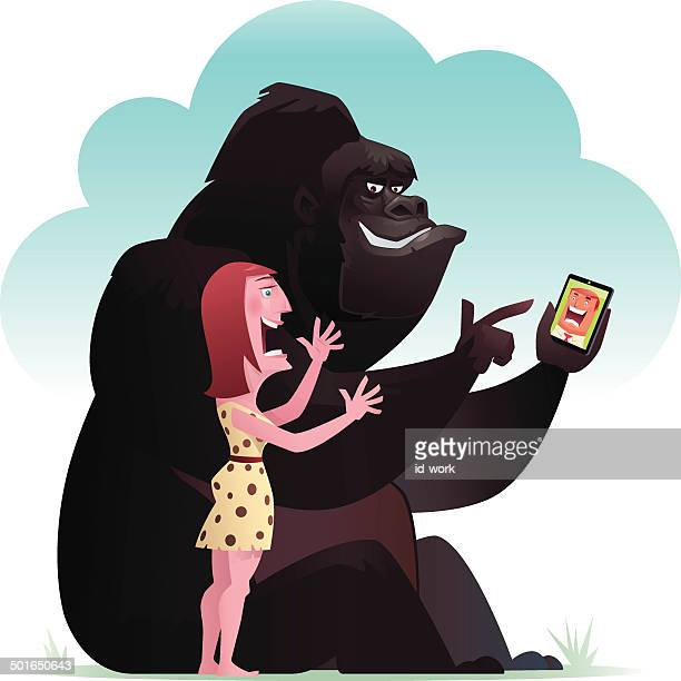 gorilla and lady chatting