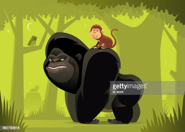 gorilla and monkey meeting in jungle - chimpanzee stock illustrations, clip art, cartoons, & icons
