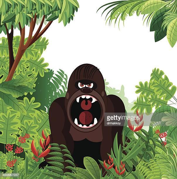 ilustraciones, imágenes clip art, dibujos animados e iconos de stock de gorila y selva tropical - biodiversidad