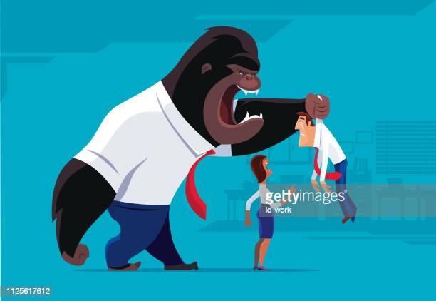 gorilla and woman blaming businessman - threats stock illustrations