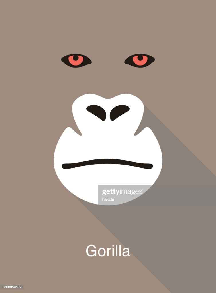 gorilla face flat icon design, vector illustration