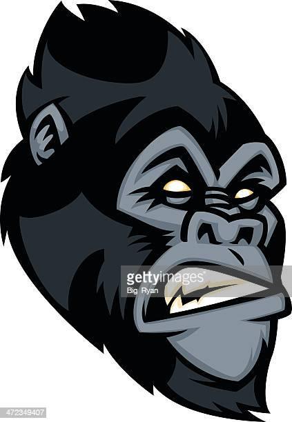ilustraciones, imágenes clip art, dibujos animados e iconos de stock de gorila de cara - criptozoología