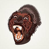 Gorilla head. Vector illustration.