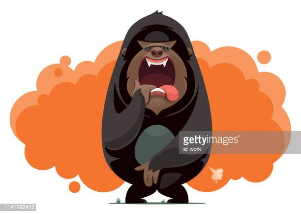 gorilla screaming - bigfoot stock illustrations