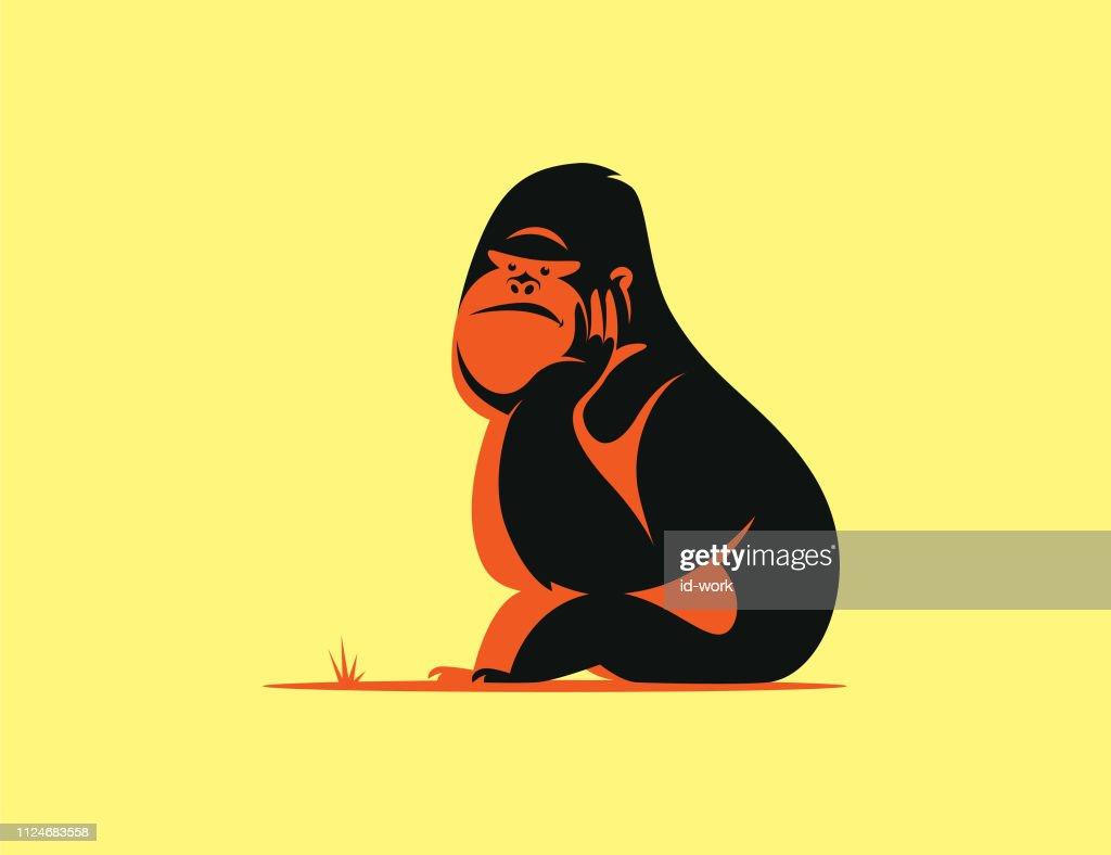 gorilla sitting and thinking : stock illustration