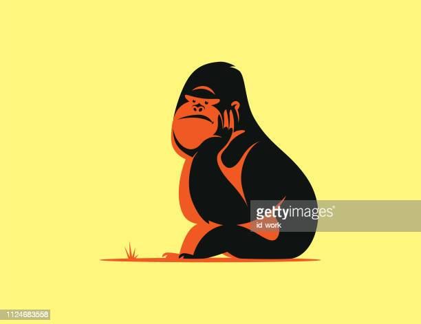 gorilla sitting and thinking - bigfoot stock illustrations