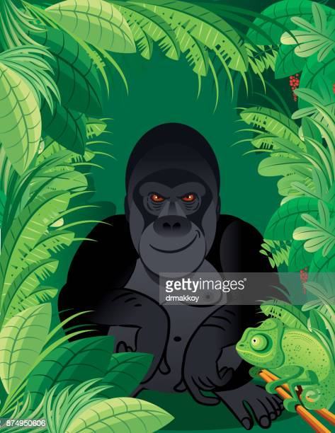 gorilla  - chimpanzee stock-grafiken, -clipart, -cartoons und -symbole