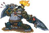 Gorilla Warrior Fantasy Vector Illustration