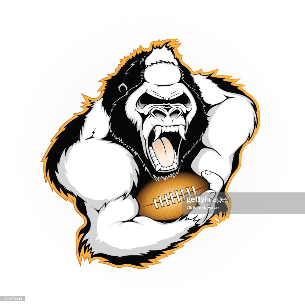 Gorilla with the ball for American football