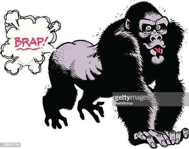 ilustraciones, imágenes clip art, dibujos animados e iconos de stock de gorillla pedos - pedo