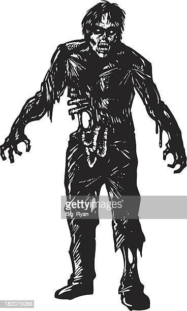 gory zombie - zombie stock illustrations, clip art, cartoons, & icons