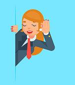 Gossip Girl Listen Overhear Spy Out Corner Cartoon Businessman Character
