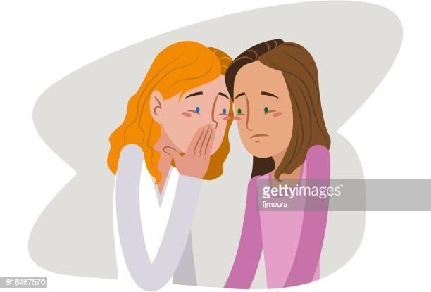 gossip in the classroom - bullying stock illustrations