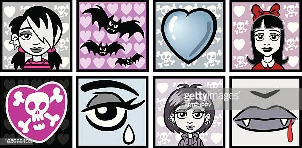 goth emo vampire girls - young goth girls stock illustrations