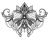 Gothic bow and lotus flower tattoo motif. Black color graphic in white background.