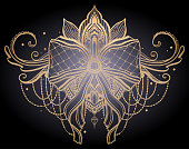 Gothic bow gold tattoo motif. Gold color graphic in black background.