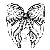 Gothic bow tattoo motif. Black color graphic in white background.