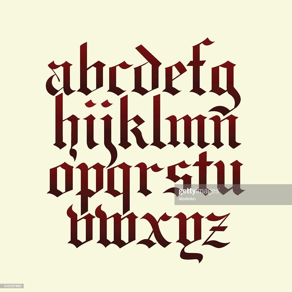 gothic calligraphy alphabet vector