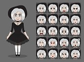 Gothic Doll Girl Cartoon Emotion faces Vector Illustration