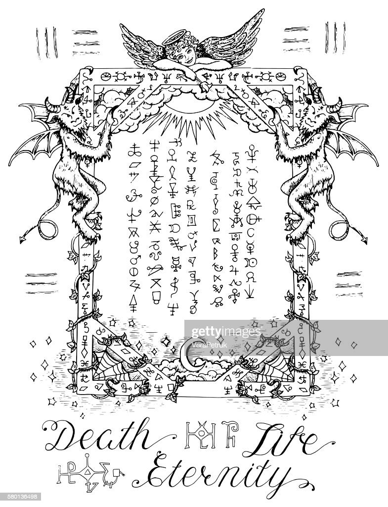 Gothic frame with angel and demons