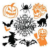Gothic Halloween Paper Cut Silhouette Set