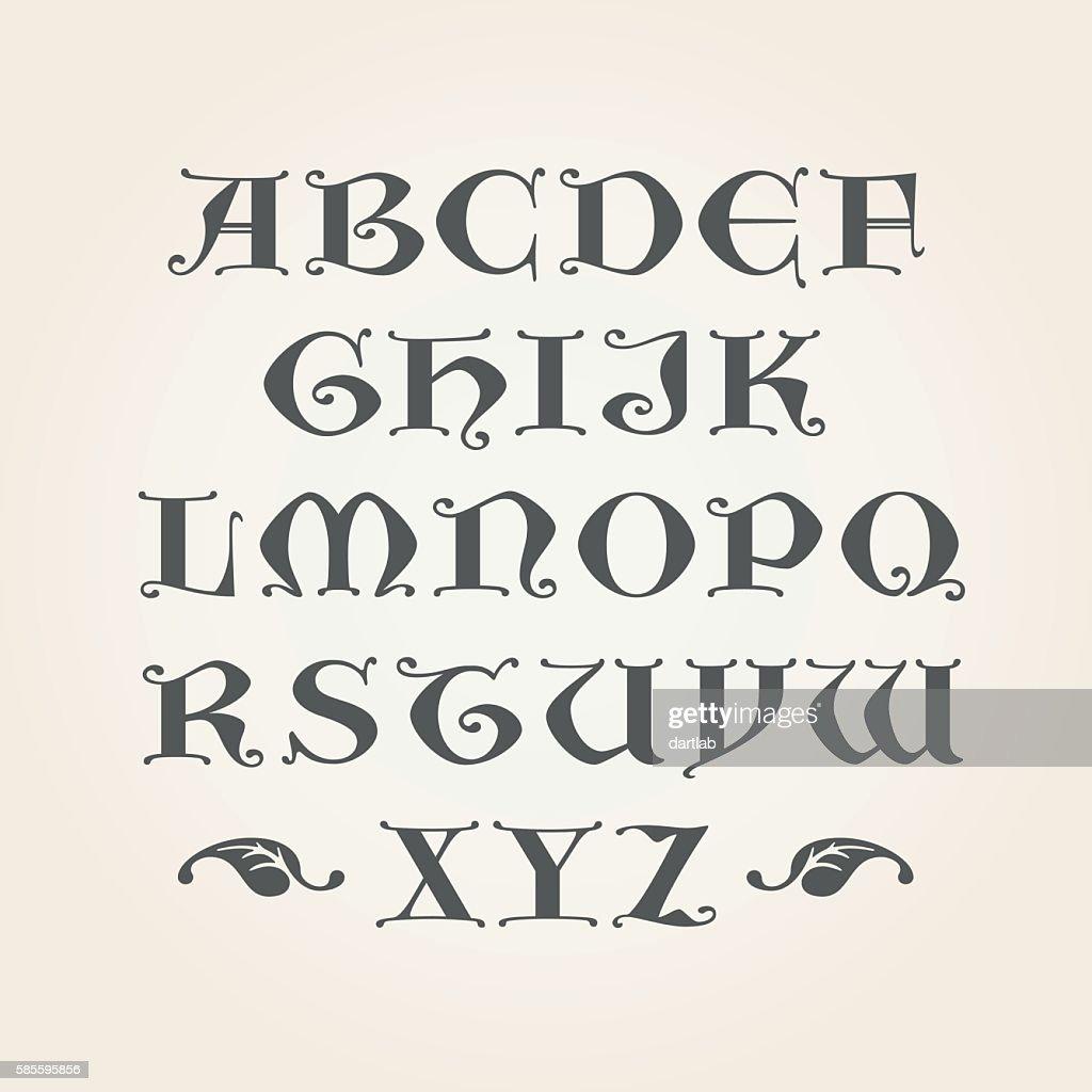 Gothic initials. Decorative Alphabet