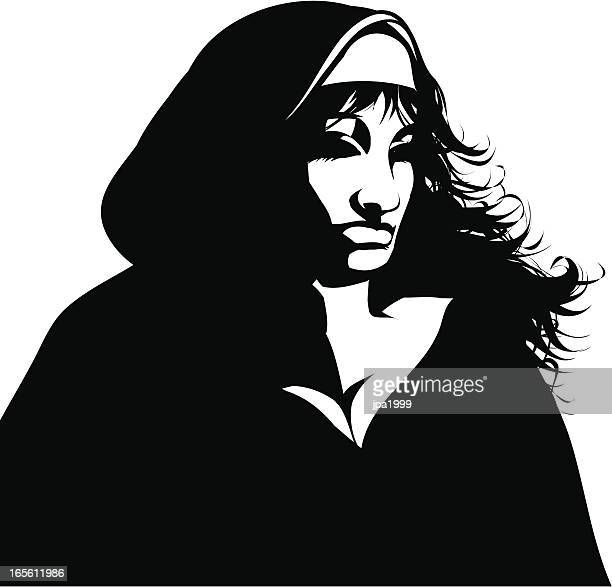 gothic nun - sexual fetish stock illustrations, clip art, cartoons, & icons
