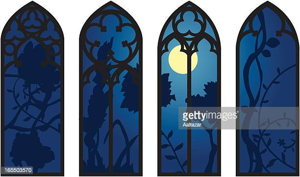 gothic windows - gothic style stock illustrations, clip art, cartoons, & icons