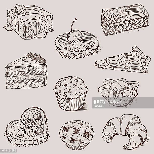 gourmet desserts and bakery collection - pastry dough stock illustrations, clip art, cartoons, & icons