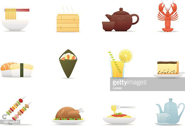 gourmet icons | premium matte series - green tea stock illustrations, clip art, cartoons, & icons